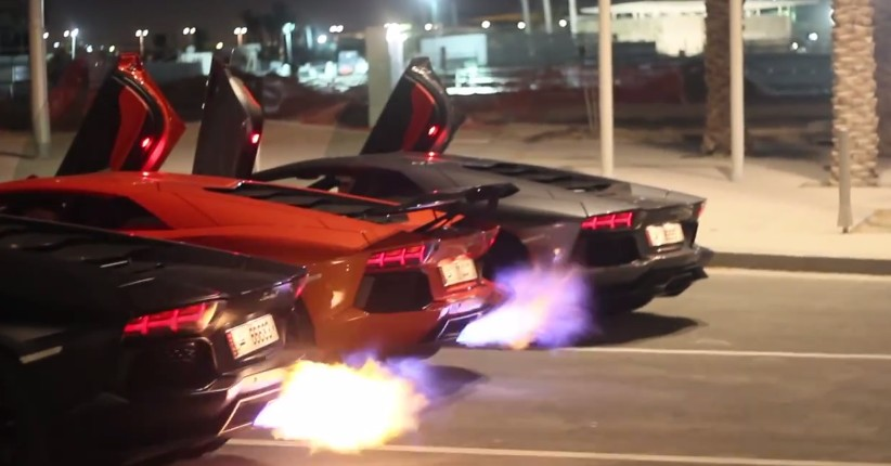 Trio Of Lamborghini Aventadors Throw Down In Flame Off Video