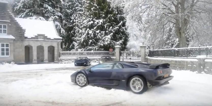 Lamborghini Diablo Owner Plays With The White Stuff: Video