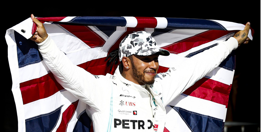 Lewis Hamilton after winning the 2019 Formula One World Championship at the United States Grand Prix