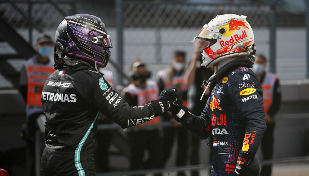 Lewis Hamilton and Max Verstappen at the 2021 Formula One Portuguese Grand Prix