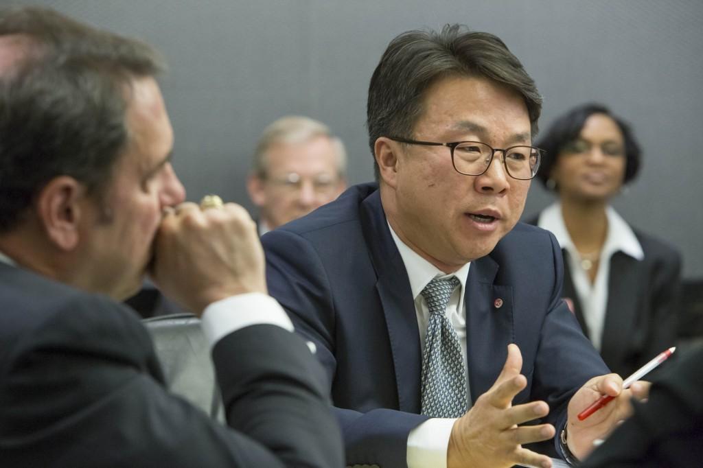 LG VP Ken Chang on GM-LG Chem partnership on Bolt EV electric car [photo: Jeffrey Sauger for GM]