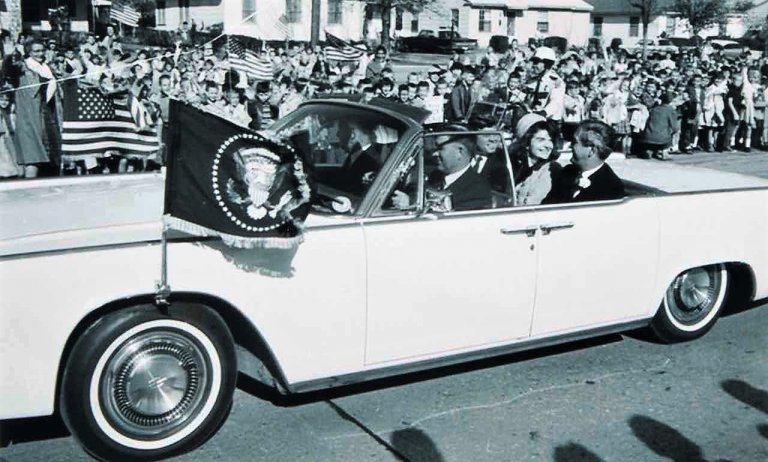 President Kennedy, the First Lady and Texas Governor John Connally being driven in the 1963 Lincoln
