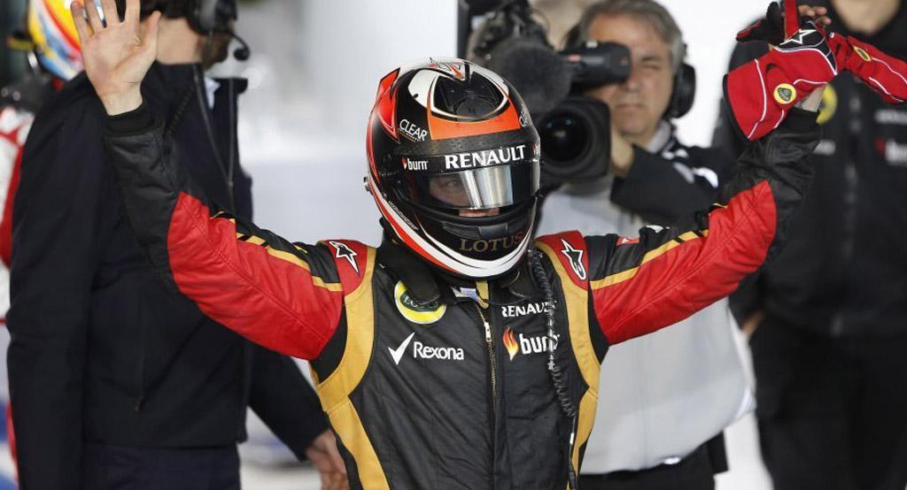 Lotus' Kimi Räikkönen after winning the 2013 Formula 1 Australian Grand Prix
