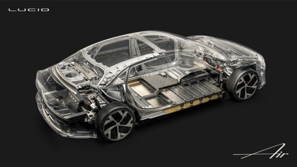 Lucid Air body structure and battery pack