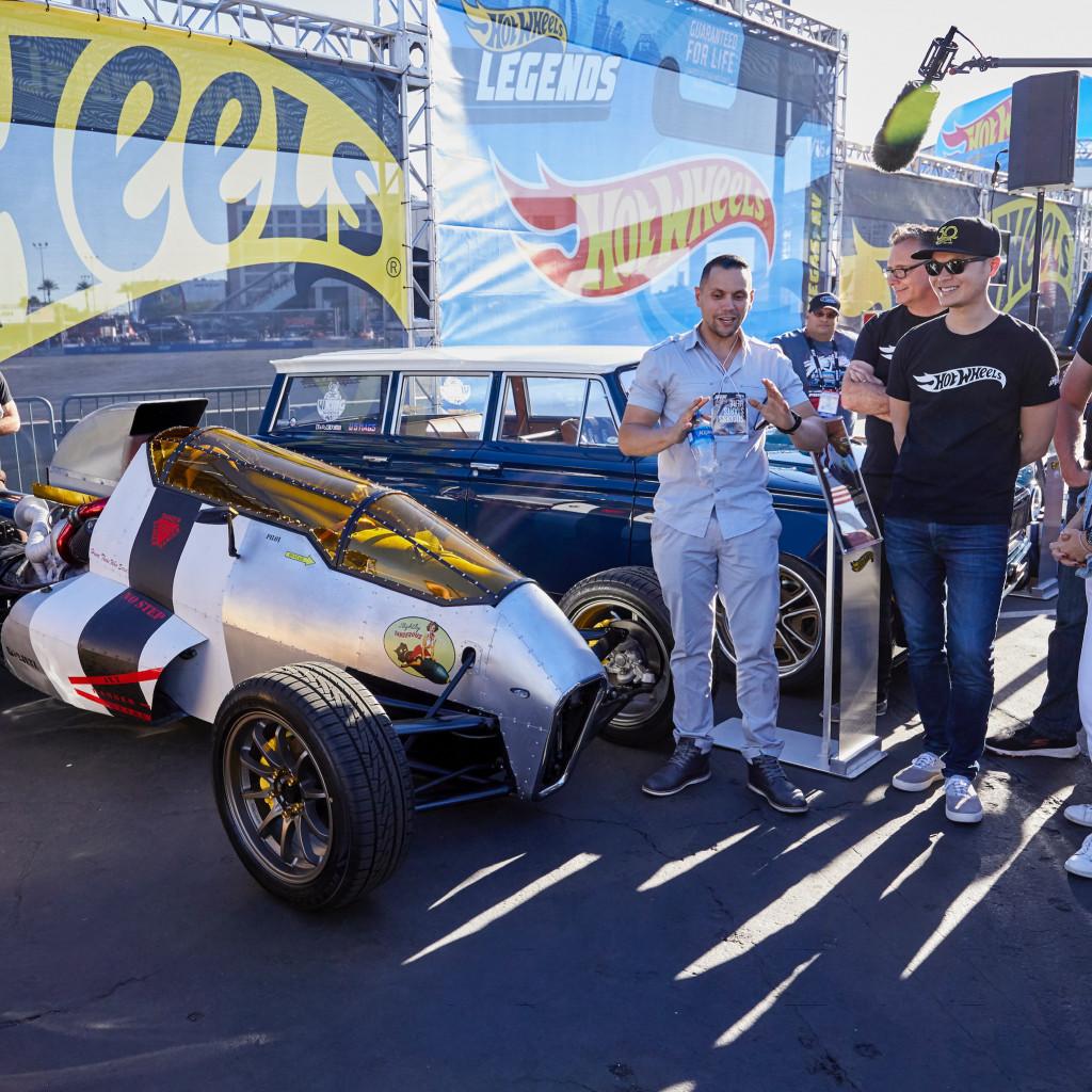 Luis Rodriquez with the Hot Wheels Legends Tour winner, 2JetZ