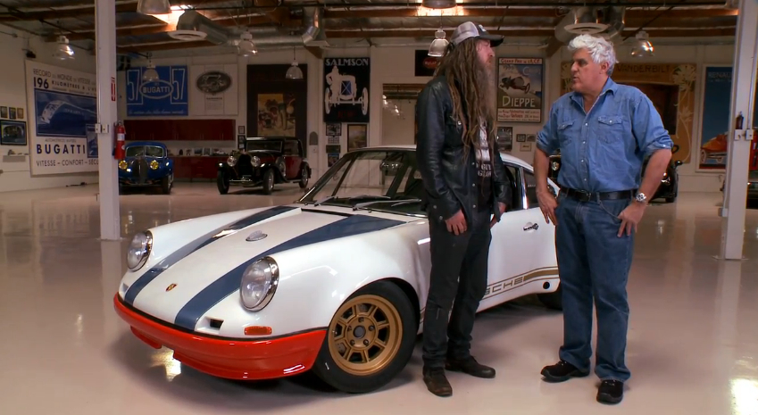Magnus Walker explains his 1972 Porsche 911 to Jay Leno