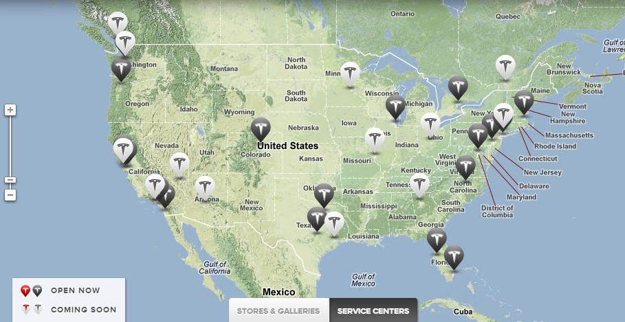 Map of Tesla's current and future service center locations
