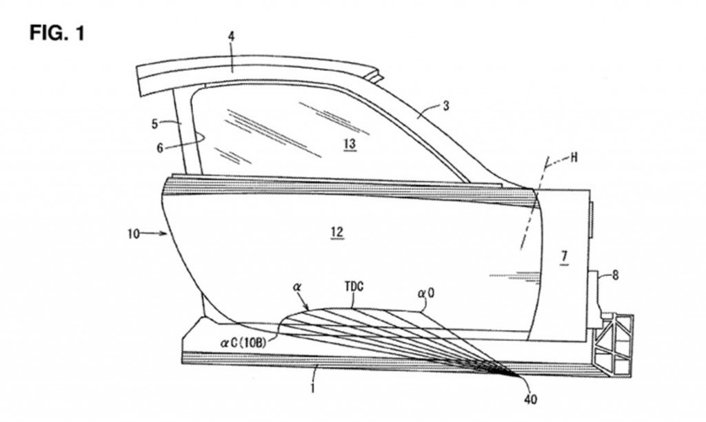 Mazda patent image for swan doors