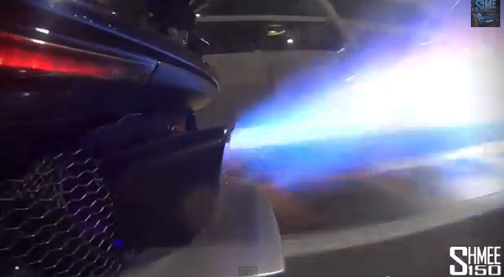 McLaren P1 shooting flames from exhaust