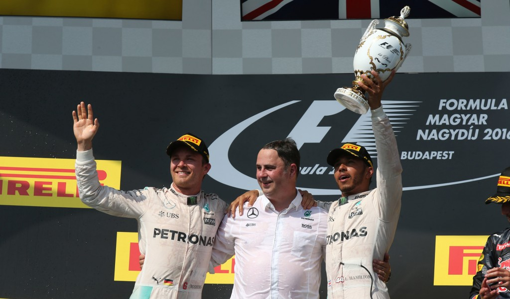 Mercedes AMG's Nico Rosberg and Lewis Hamilton at the 2016 Formula One Hungarian Grand Prix