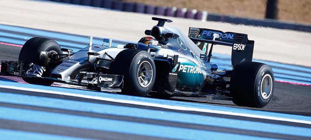 Mercedes AMG Formula One car testing at Circuit Paul Ricard