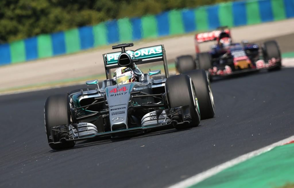 Mercedes AMG's Lewis Hamilton at the 2015 Formula One Hungarian Grand Prix