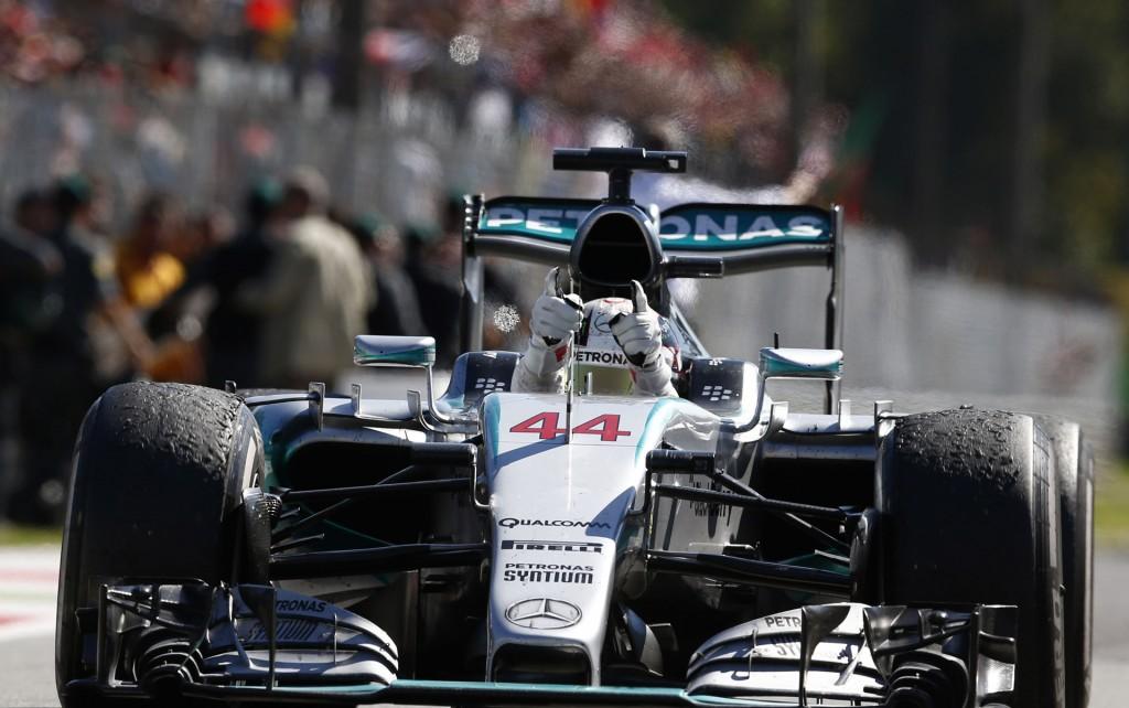 Mercedes AMG's Lewis Hamilton at the 2015 Formula One Italian Grand Prix