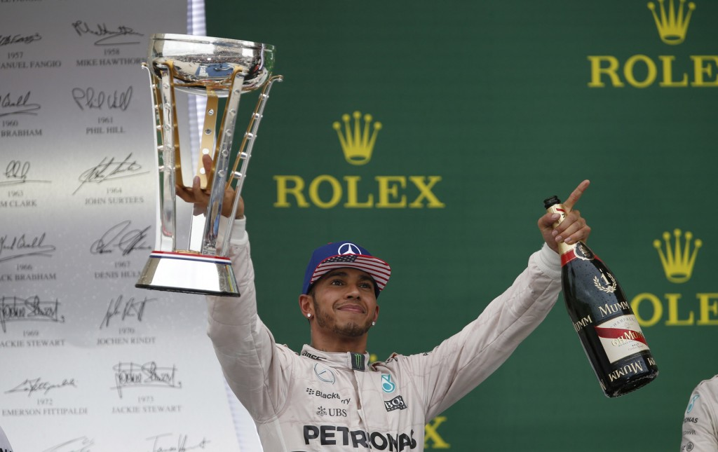 Mercedes AMG's Lewis Hamilton at the 2015 Formula One United States Grand Prix