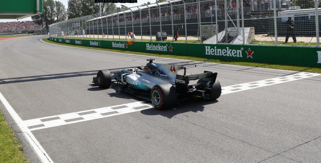 Mercedes AMG's Lewis Hamilton at the 2017 Formula One Canadian Grand Prix
