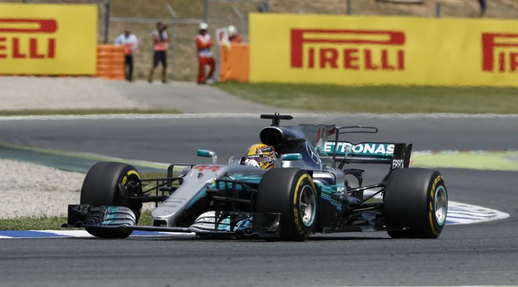 Mercedes AMG's Lewis Hamilton at the 2017 Formula One Spanish Grand Prix