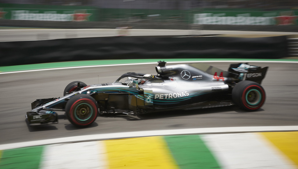 Mercedes-AMG's Lewis Hamilton at the 2018 Formula 1 Brazilian Grand Prix