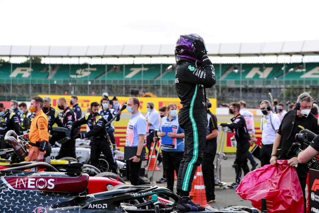 Mercedes-AMG's Lewis Hamilton at the 2020 Formula One British Grand Prix