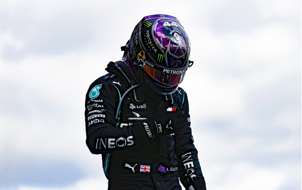 Mercedes-AMG's Lewis Hamilton at the 2020 Formula One Eifel Grand Prix