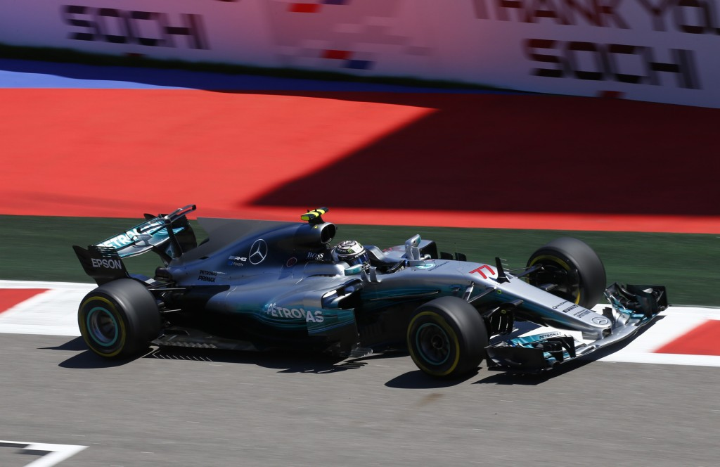 Mercedes AMG's Valtteri Bottas at the 2017 Formula One Russian Grand Prix