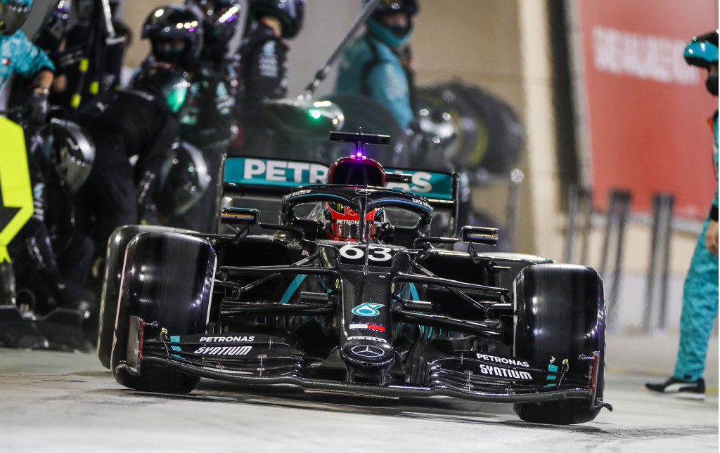 Mercedes-Benz AMG's George Russell at the 2020 Formula One Sakhir Grand Prix