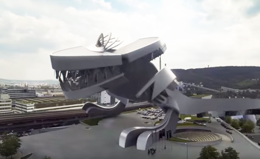Watch the Mercedes museum turn into a... hungry t-rex?
