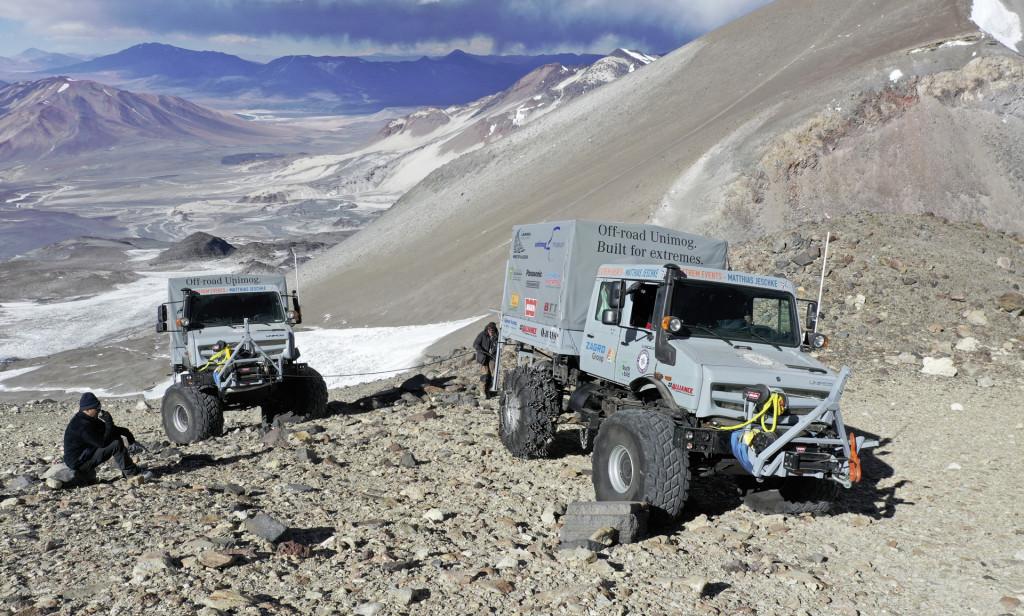 Mercedes-Benz Unimog U 5023 during record climb up the Ojos de Salado volcano in Chile
