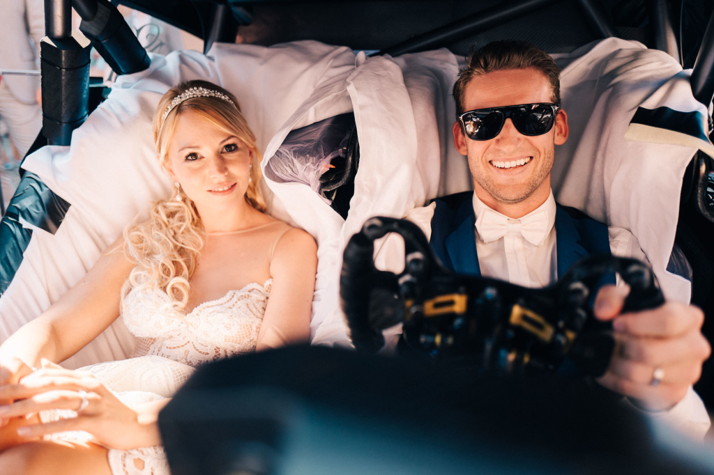 Marco Engel and his wife Steffi drove away from their wedding in a Mercedes-Benz DTM race car