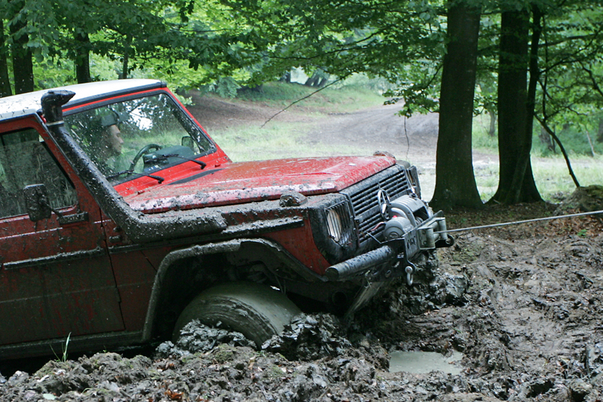 Mercedes G-wagen stuck in mud