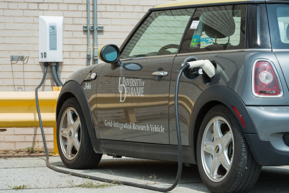 MINI E electric car used in vehicle-to-grid test. Photo by University of Delaware/Evan Krape