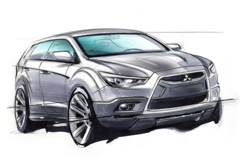 Mitsubishi compact crossover preview sketch