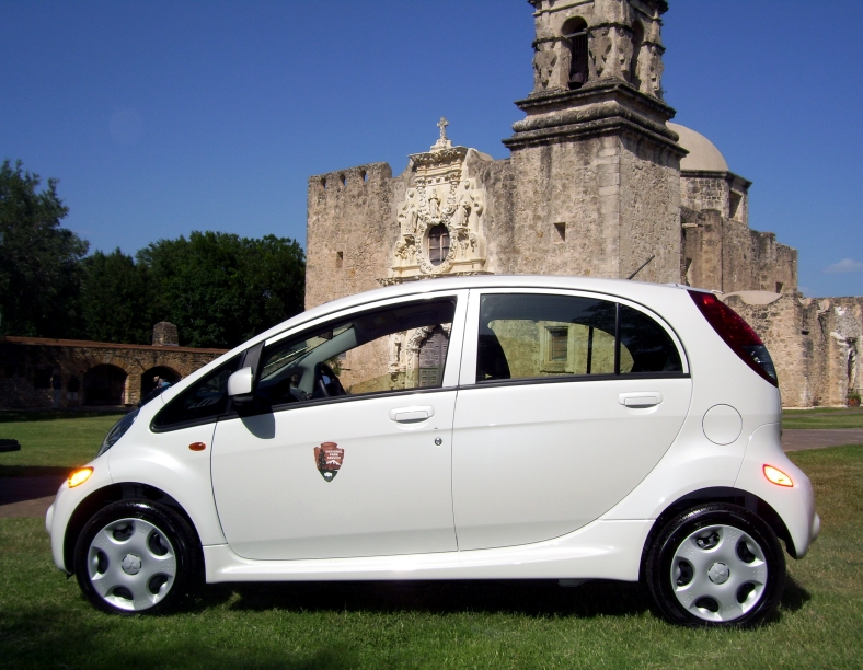 Mitsubishi i electric car at San Antonio Missions National Historic Park