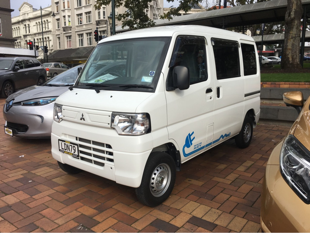 Mitsubishi i-MiEV electric delivery van, seen in New Zealand, 2018  [photo: Chelsea Sexton]