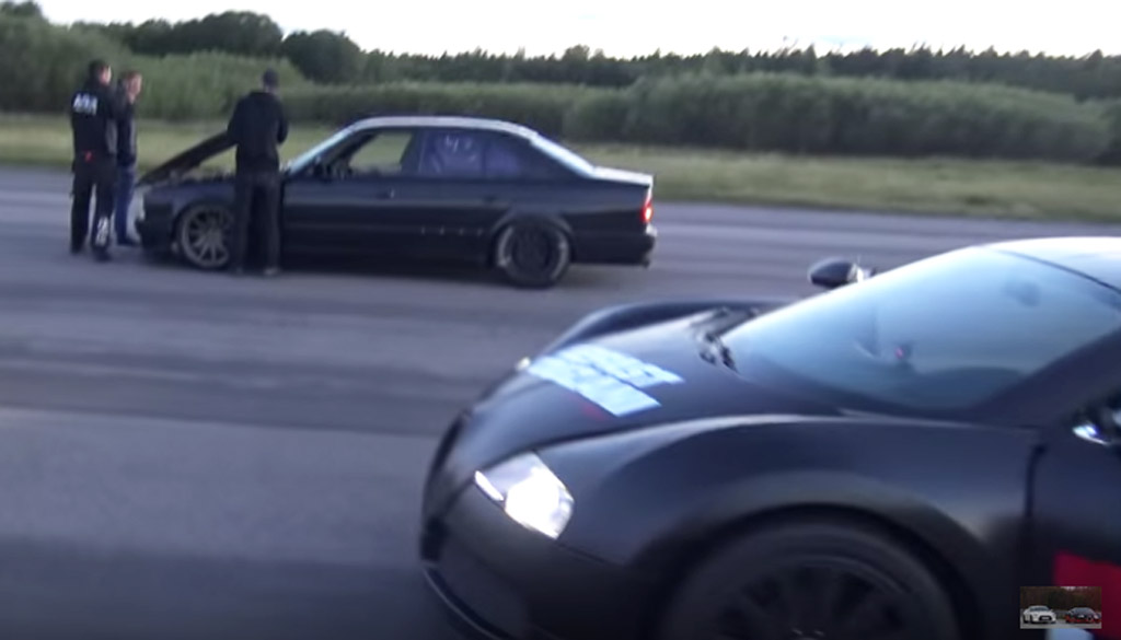 Modified E34 BMW M5 Outmuscles Bugatti Veyron: Video