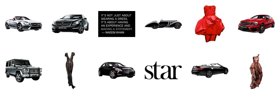 Mood board items from the Mercedes-Benz Star Style Challenge