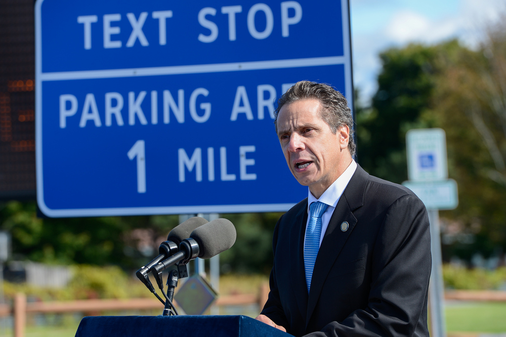 "New York Governor Andrew Cuomo unveils ""texting zones"" along thruway and highways (9-23-13)"