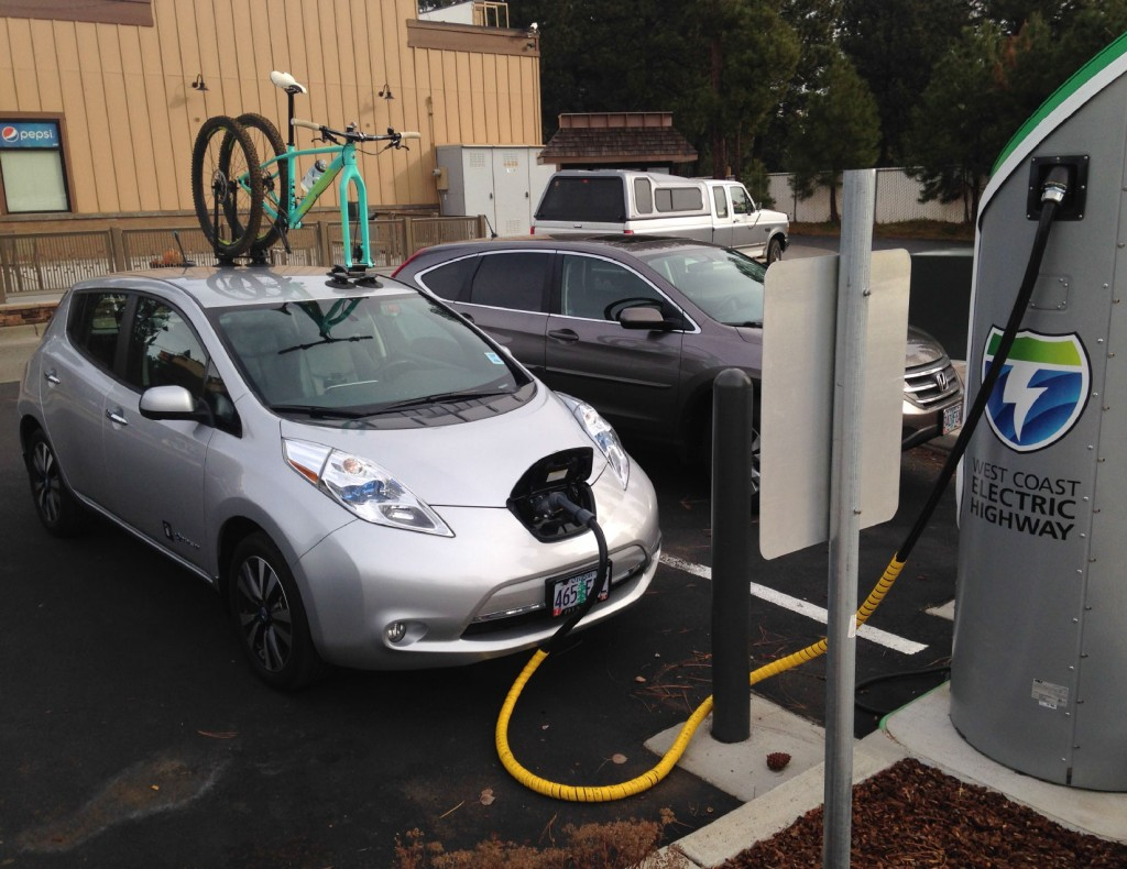 Nissan Leaf at West Coast Electric Highway charging station (Photo by Pine Mountain Sports)