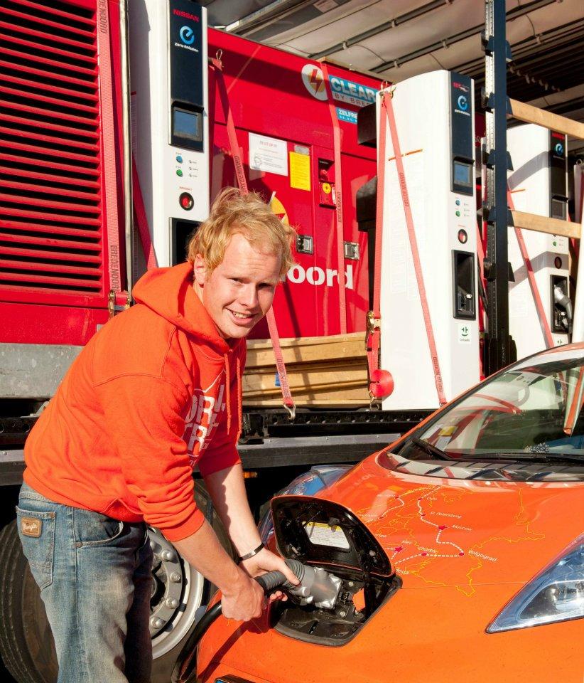 Nissan Leaf on the Orange Trophy trip. (Image: Koops Auto on Facebook)