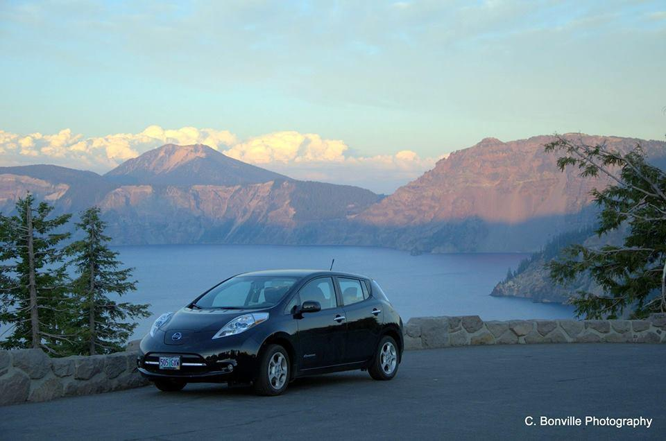 Nissan Leaf electric car at Crater Lake, Oregon  [image: C. Bonville Photography]