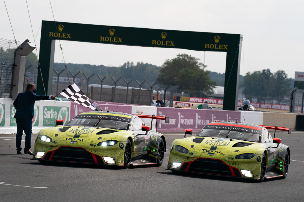 No. 97 and no. 95 Aston Martin Vantage GTE at the 2020 24 Hours of Le Mans