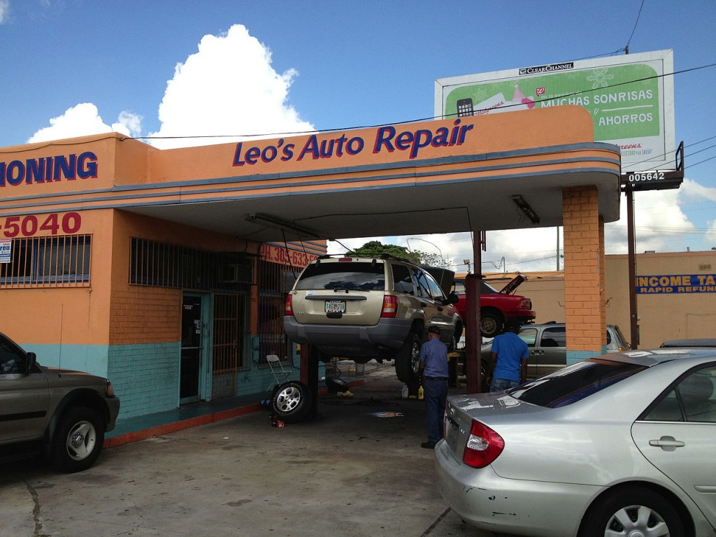 Old gas station, now auto repair shop, Liberty City, Miami, Florida (pic by Phillip Pessar)