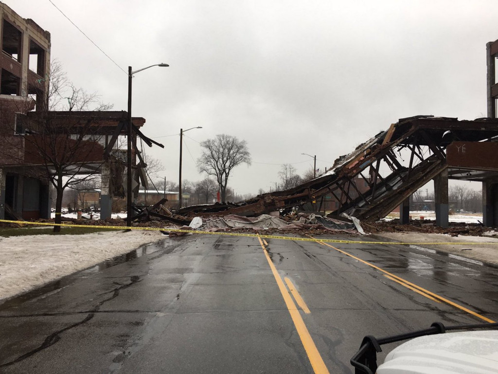Packard plant bridge in Detroit, Michigan, collapsed Photo via Historic Detroit