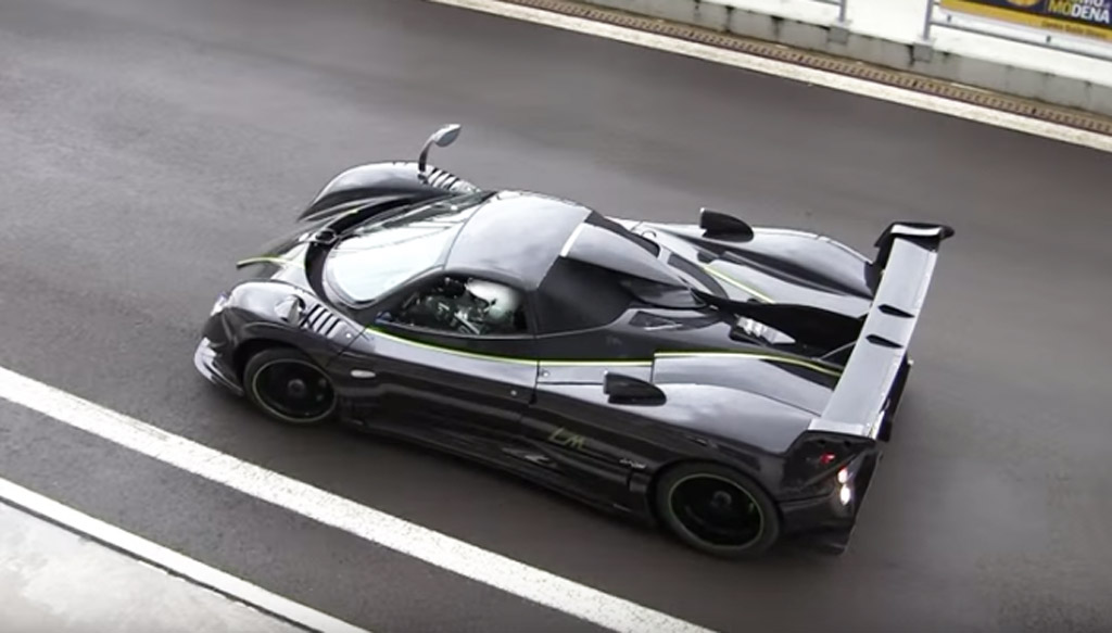 one-off pagani zonda 760 lm roadster hits the track