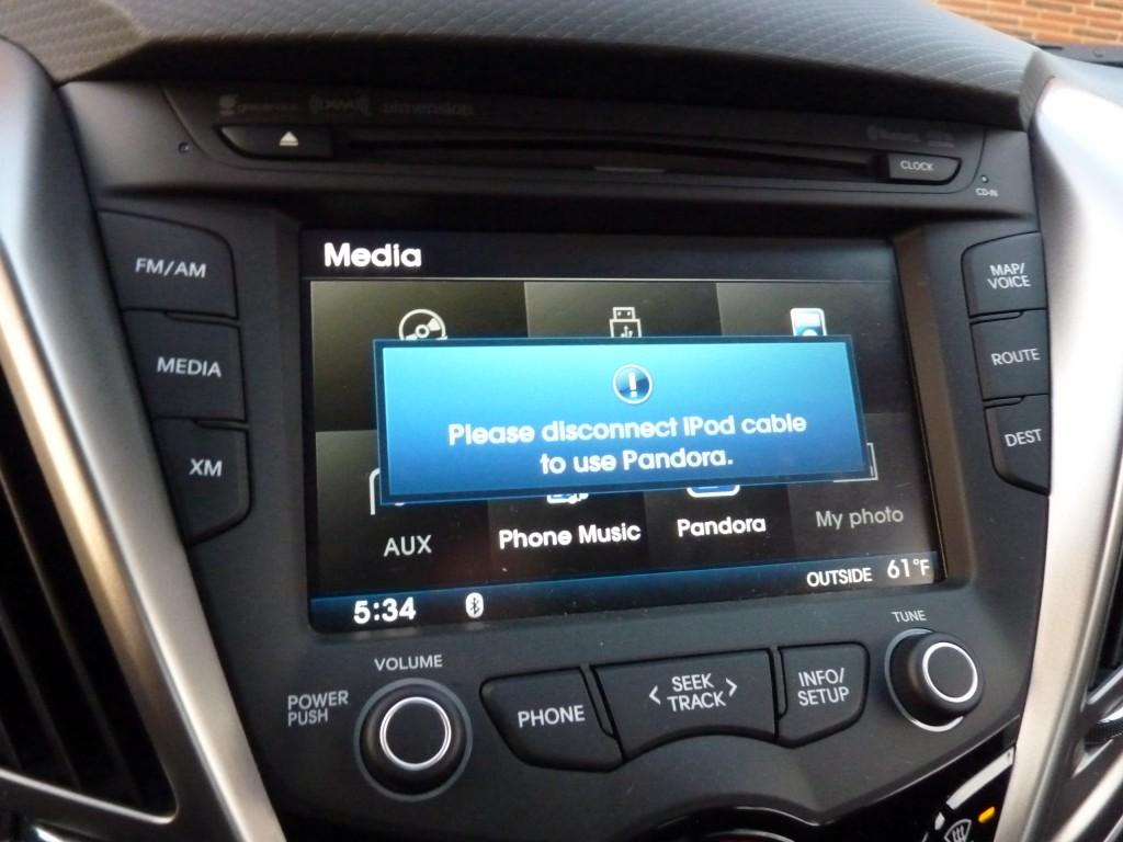 Pandora audio streaming warning  -  in 2012 Hyundai Veloster