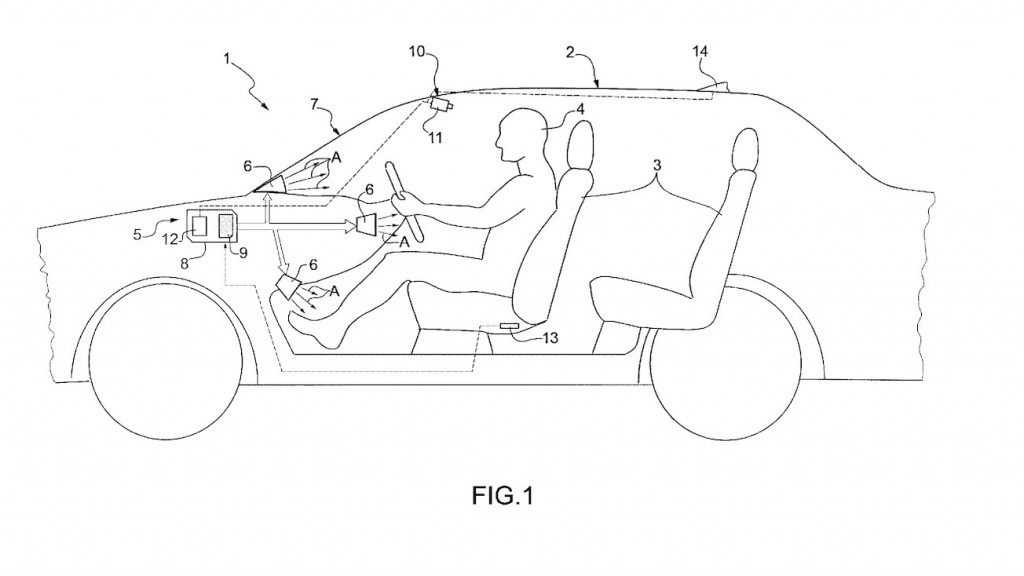Patent image of Ferrari advanced air conditioning system
