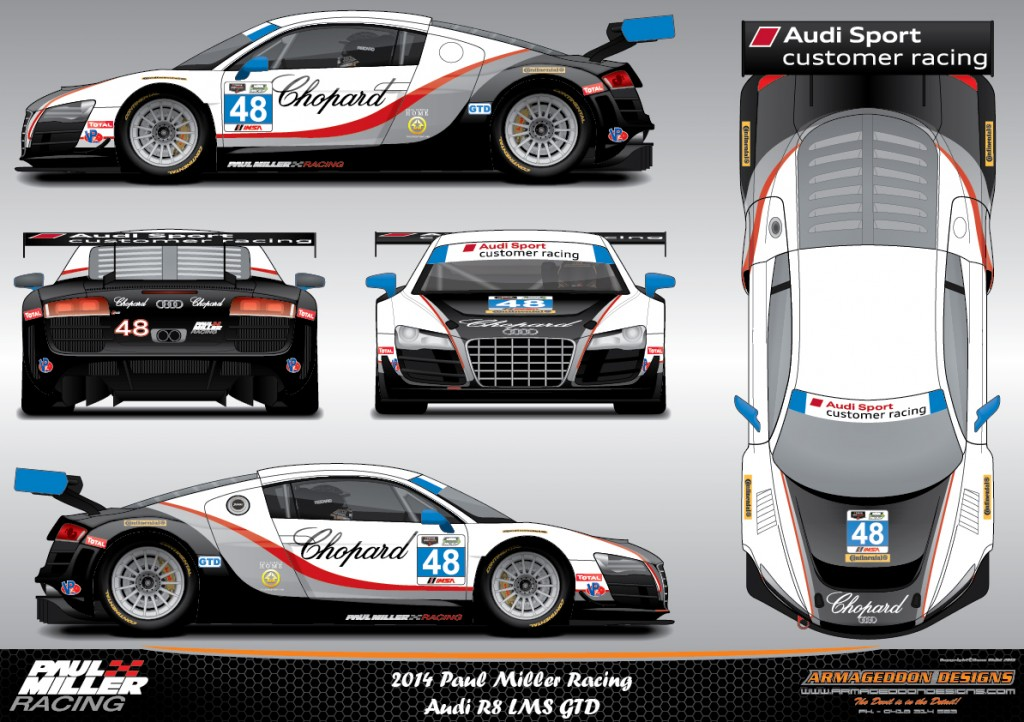Image: Paul Miller Racing Audi R8 LMS GTD livery for the 2014 Rolex 24 Hours of Daytona, size ...