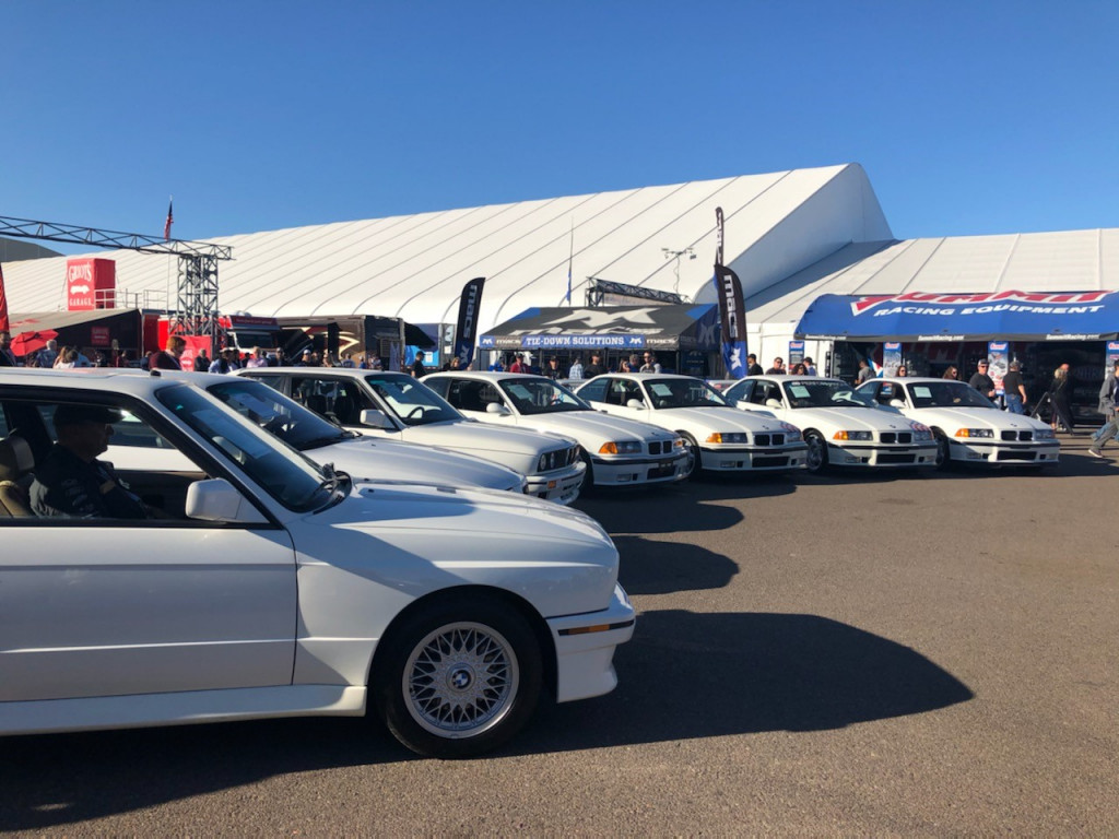 Paul Walker's BMW's lined up prior to auction | Sarah Day photo