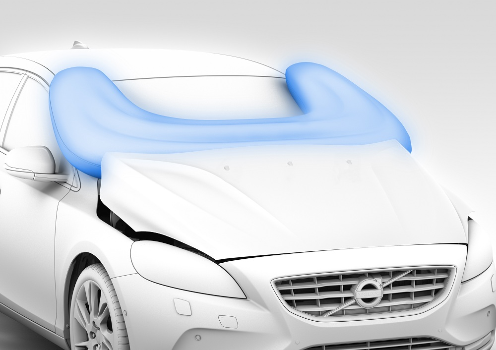 Pedestrian airbag as shown on the Volvo V40