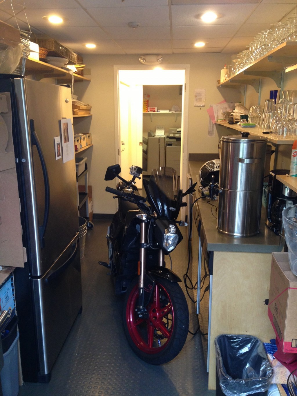 Photo contest runner-up: Zero S electric motorcycle charging in restaurant kitchen [Ben Rich]