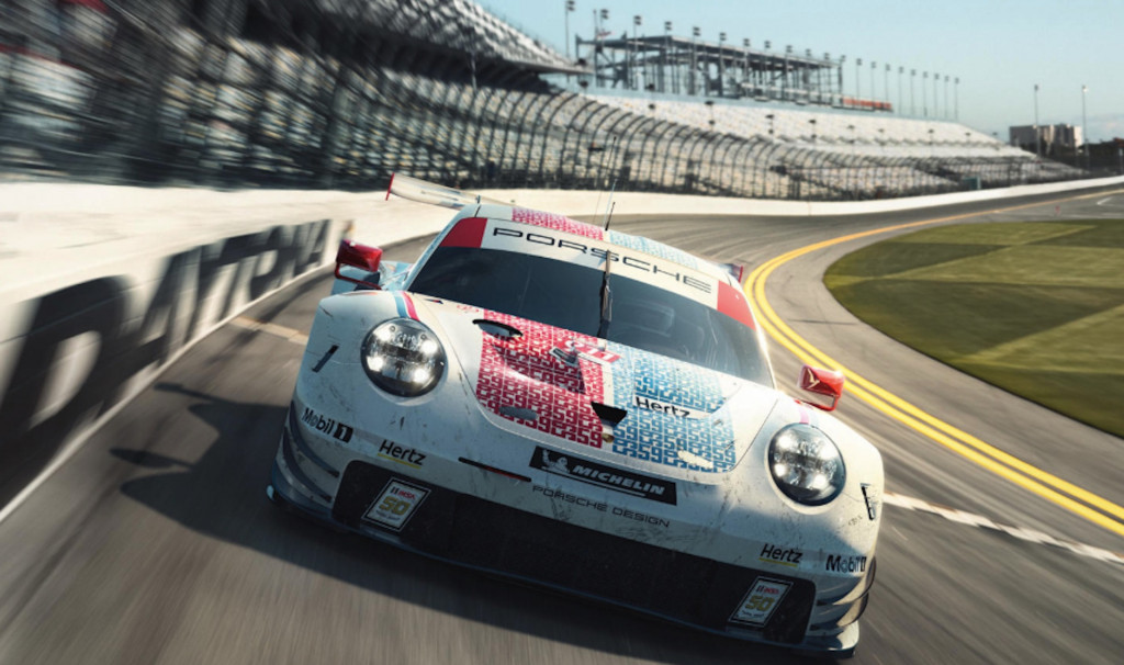 Porsche 911 RSR Brumos racing livery for 2019 Rolex 24 at Daytona